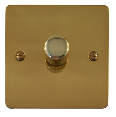 G&H FB15 Flat Plate Polished Brass 1 Gang 1 or 2 Way 700W Dimmer Switch Single Plate
